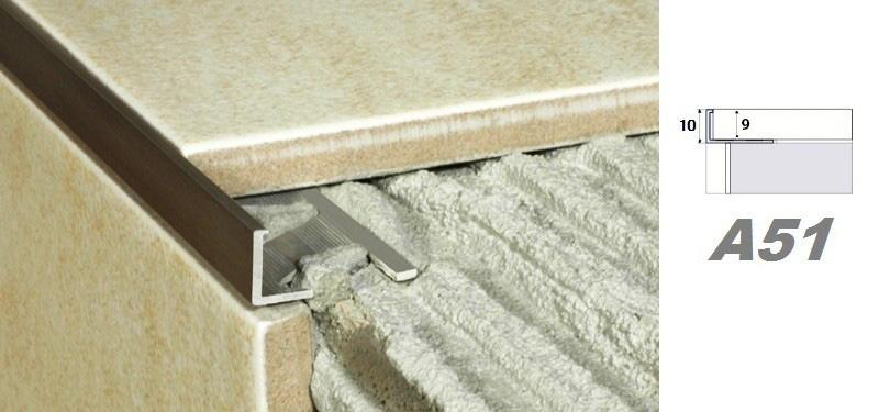 2 meter alu eloxiert fliesen randleiste aluprofil fliesenleiste schiene 10mm a51 ebay. Black Bedroom Furniture Sets. Home Design Ideas