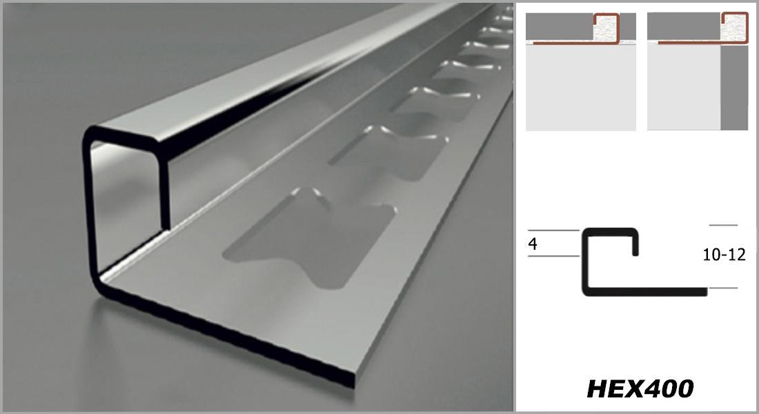 2 meter edelstahl quadrat form quadratprofil fliesenschiene kantenschutz hex400 ebay. Black Bedroom Furniture Sets. Home Design Ideas