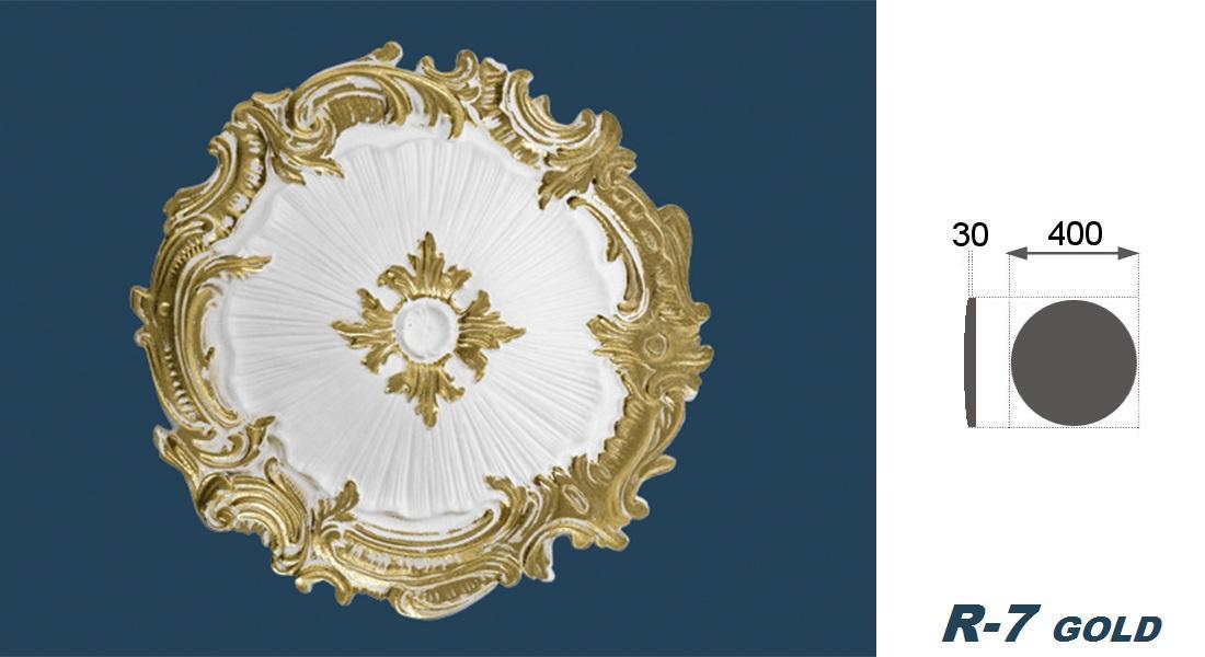 1 ROSETTE POLISTIROLO da soffitto parete decorazione decorativa o40cm,R-7 ORO...
