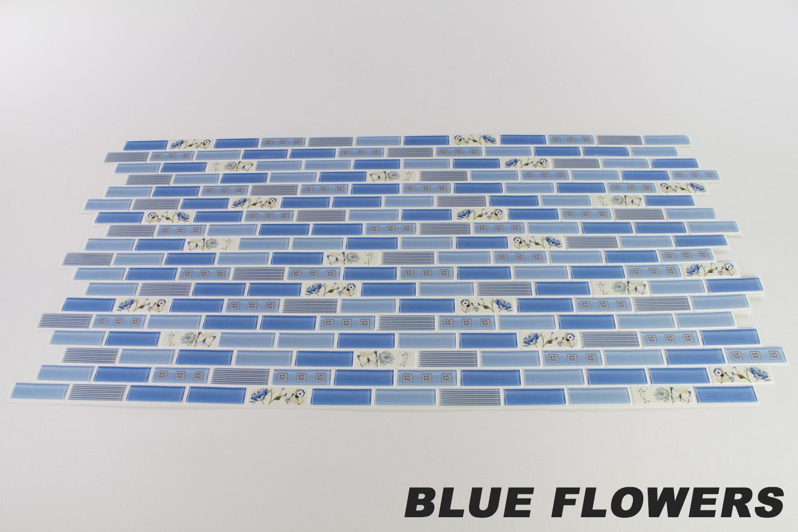 1 pvc dekorplatte mosaic wandverkleidung platten wand 95x48cm blue flowers ebay. Black Bedroom Furniture Sets. Home Design Ideas