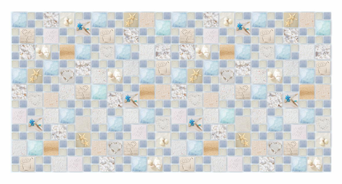 1 pvc dekorplatte mosaic wandverkleidung platten wand 95x48cm sand lagoon ebay. Black Bedroom Furniture Sets. Home Design Ideas