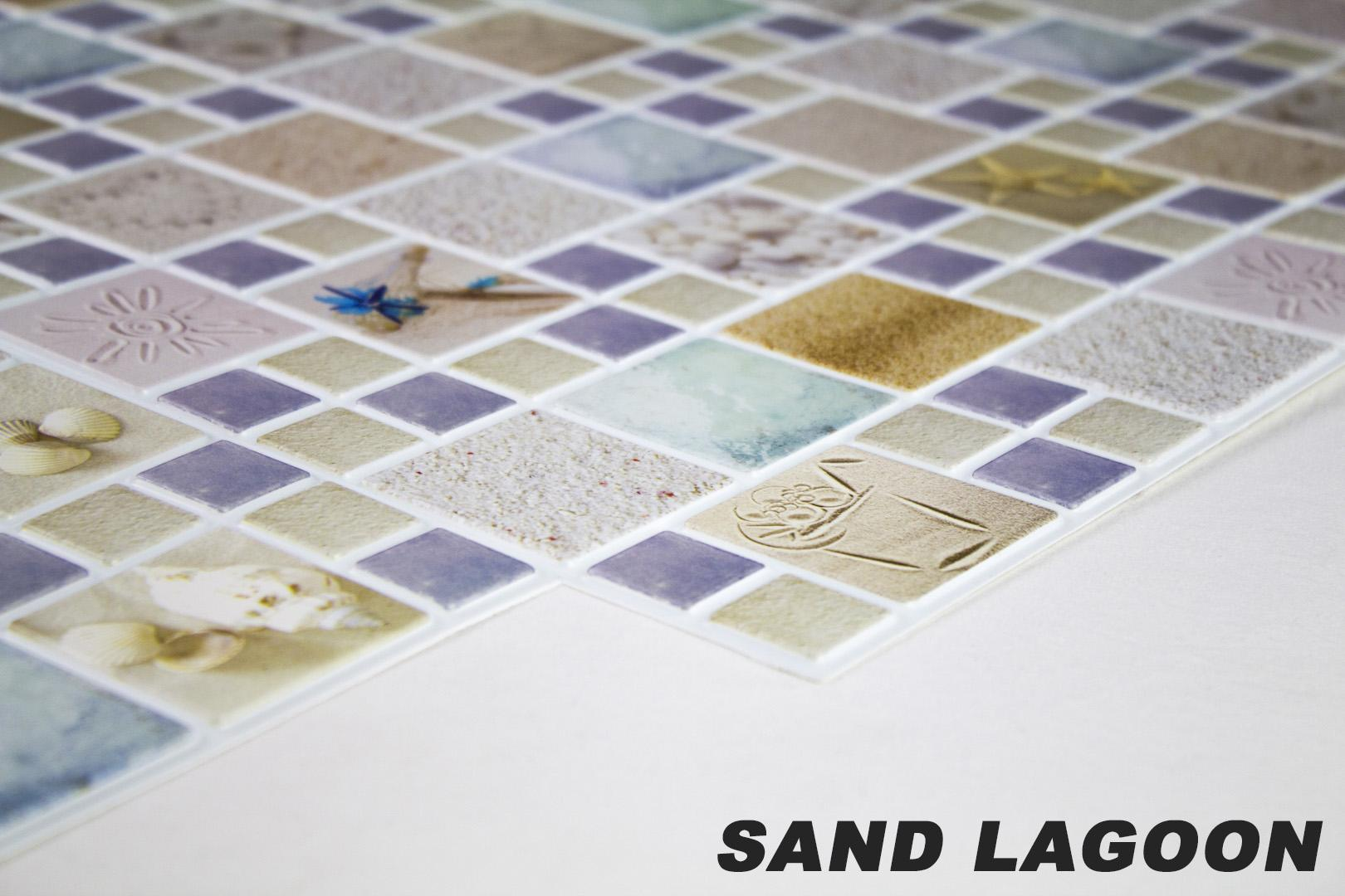 1 pvc dekorplatte mosaic wandverkleidung platten wand 95x48cm sand lagoon 4250819261642 ebay. Black Bedroom Furniture Sets. Home Design Ideas