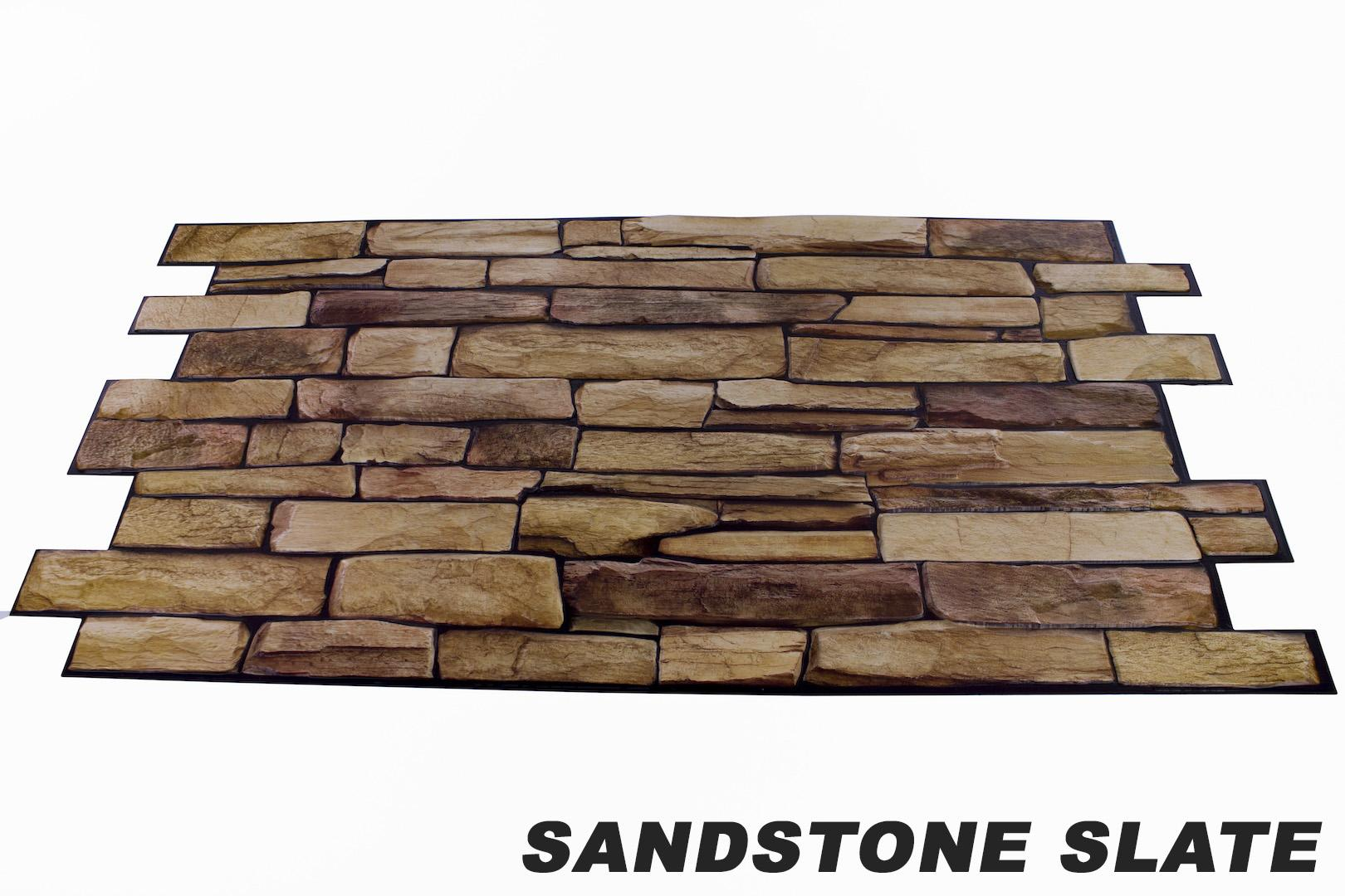 1 pvc dekorplatte mosaic wandverkleidung platten wand 95x48cm sandstone slate ebay. Black Bedroom Furniture Sets. Home Design Ideas