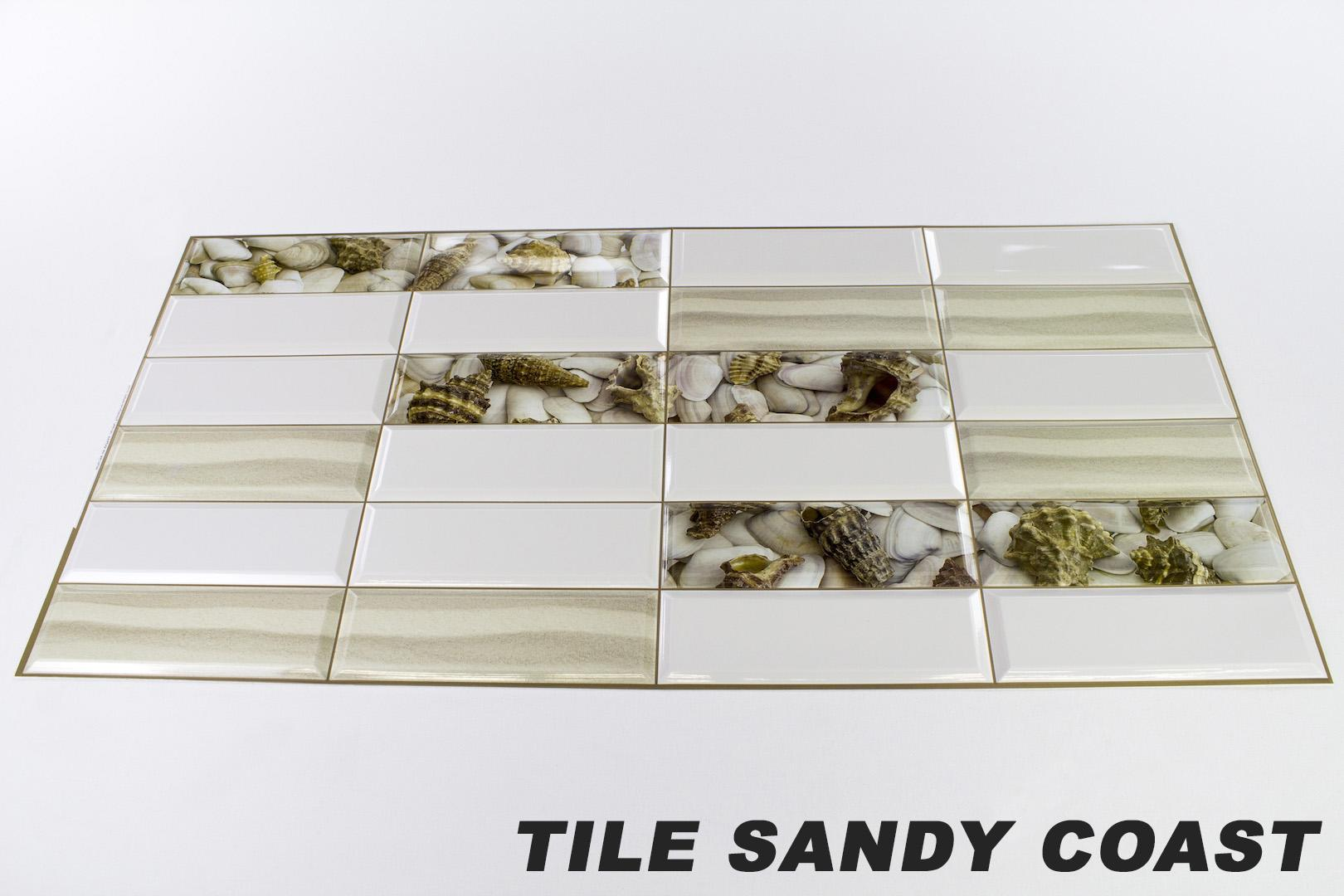 1 pvc dekorplatte mosaic wandverkleidung platten 95x48cm tile sandy coast ebay. Black Bedroom Furniture Sets. Home Design Ideas