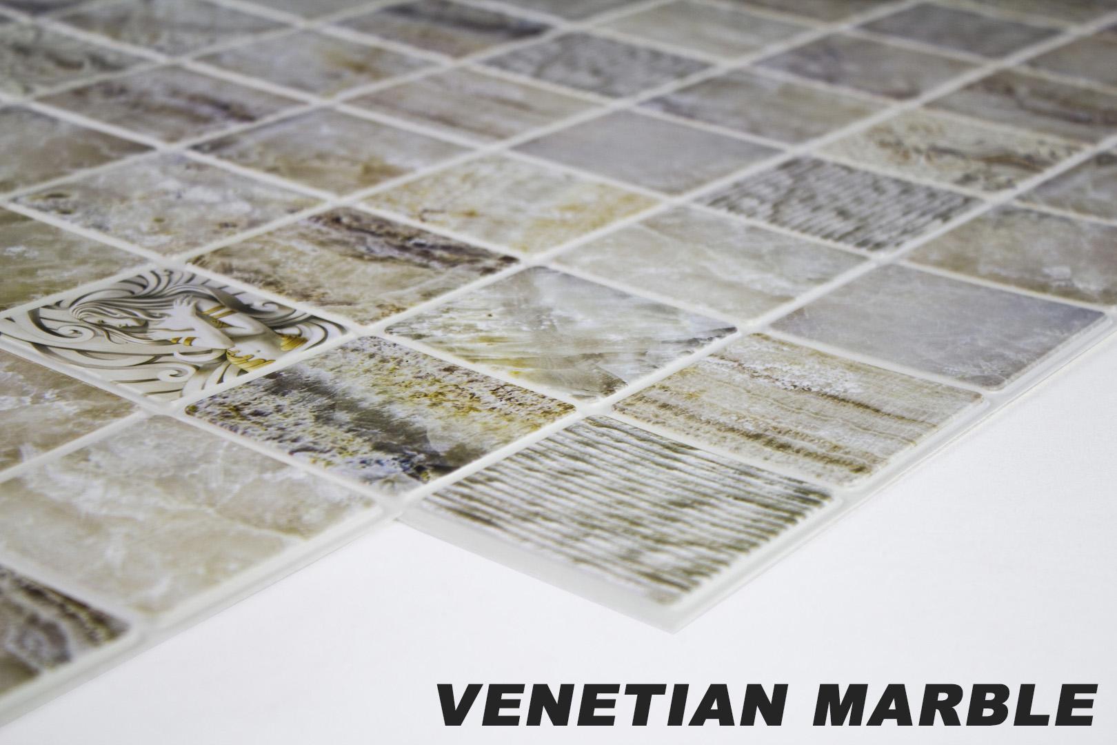 1 pvc dekorplatte mosaic wandverkleidung platten wand 95x48cm venetian marble ebay. Black Bedroom Furniture Sets. Home Design Ideas