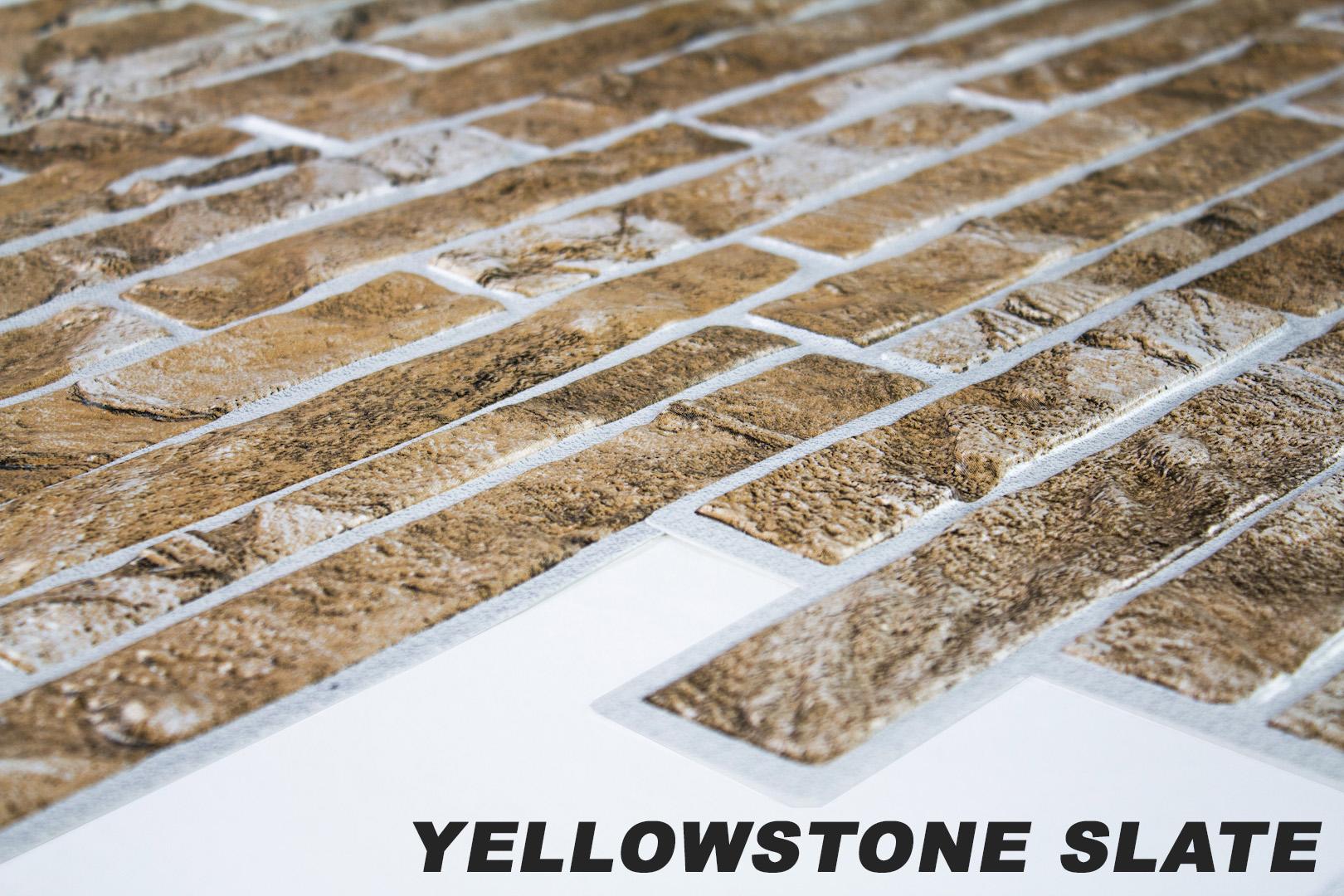 1 pvc dekorplatte mosaic wandverkleidung platten wand 95x48cm yellowstone slate ebay. Black Bedroom Furniture Sets. Home Design Ideas