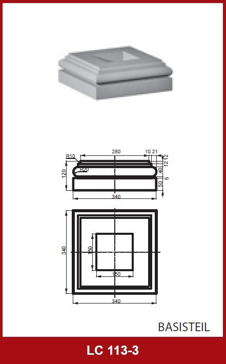 1 parte base per quadrata colonne con misura 255x255mm for Colonne quadrate decorative
