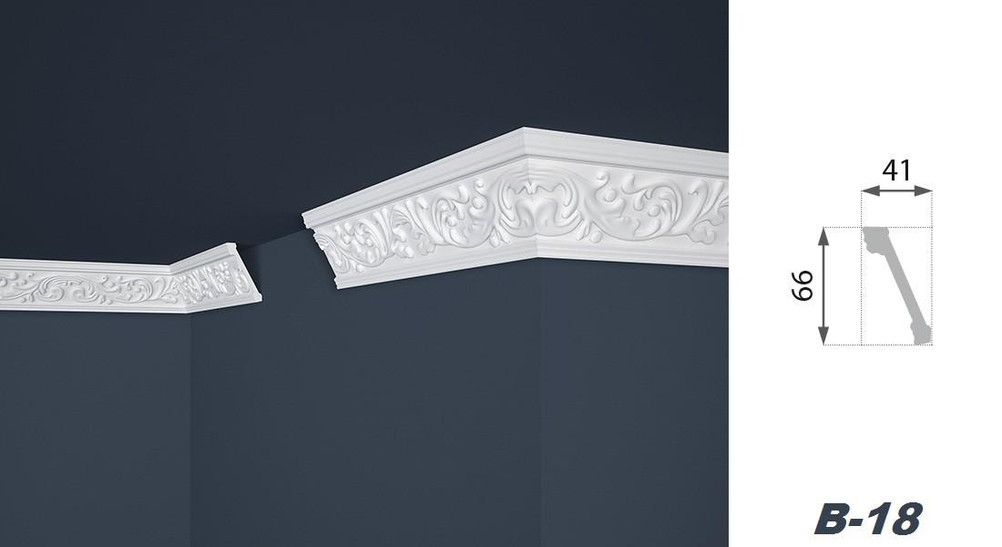2 meter leiste profil stuck styropor dekoration innen 41x66mm b 18 decke zierleisten mit. Black Bedroom Furniture Sets. Home Design Ideas