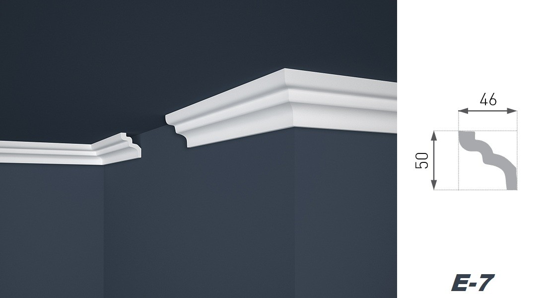 2 meter stuckleiste dekor stuckprofil innen styropor hart 46x50mm e 7 dekore aus polystyrol. Black Bedroom Furniture Sets. Home Design Ideas