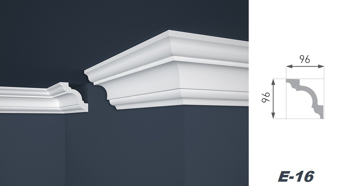2 meter deckenprofil deko zierleiste stuckleiste hart 96x96mm e 16 dekore aus polystyrol. Black Bedroom Furniture Sets. Home Design Ideas