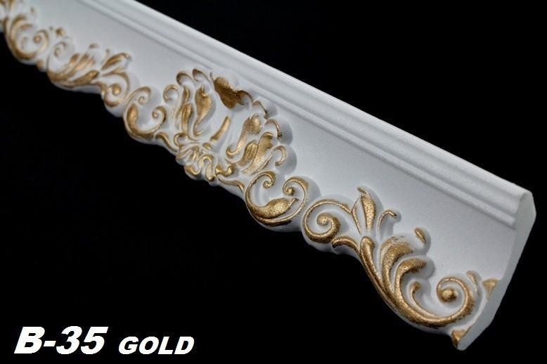 Decken Zierleisten Aus Holz ~   Stuck 52x63mm, B 35 GOLD Sparpakete Zierleisten mit Musterung 30 Meter